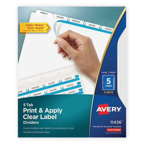 PRINT AND APPLY INDEX MAKER CLEAR LABEL DIVIDERS, 5 WHITE TABS, LETTER, 5 SETS