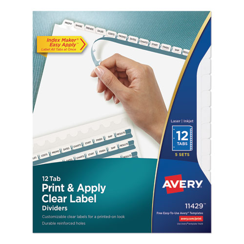 PRINT AND APPLY INDEX MAKER CLEAR LABEL DIVIDERS, 12 WHITE TABS, LETTER, 5 SETS