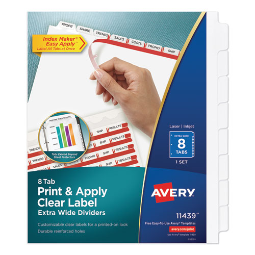 PRINT AND APPLY INDEX MAKER CLEAR LABEL DIVIDERS, 8 WHITE TABS, LETTER