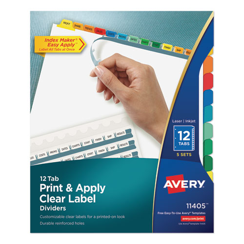 PRINT AND APPLY INDEX MAKER CLEAR LABEL DIVIDERS, 12 COLOR TABS, LETTER, 5 SETS