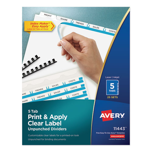 PRINT AND APPLY INDEX MAKER CLEAR LABEL UNPUNCHED DIVIDERS, 5-TAB, LTR, 25 SETS