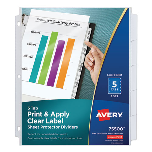 PRINT AND APPLY INDEX MAKER CLEAR LABEL SHEET PROTECTOR DIVIDERS WITH WHITE TABS, 5-TAB, 11 X 8.5, WHITE, 1 SET