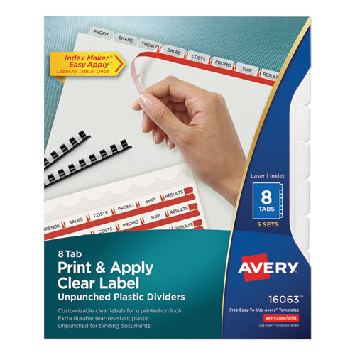 PRINT AND APPLY INDEX MAKER CLEAR LABEL UNPUNCHED DIVIDERS WITH PRINTABLE LABEL STRIP, 8-TAB, 11 X 8.5, CLEAR, 5 SETS