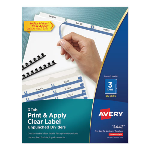 PRINT AND APPLY INDEX MAKER CLEAR LABEL UNPUNCHED DIVIDERS, 3-TAB, LTR, 25 SETS