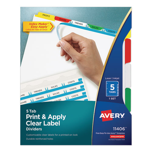 PRINT AND APPLY INDEX MAKER CLEAR LABEL DIVIDERS, 5 COLOR TABS, LETTER