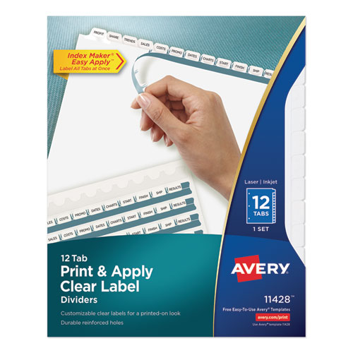 PRINT AND APPLY INDEX MAKER CLEAR LABEL DIVIDERS, 12 WHITE TABS, LETTER
