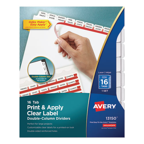 INDEX MAKER PRINT AND APPLY CLEAR LABEL DOUBLE COLUMN DIVIDERS, 16-TAB, LETTER