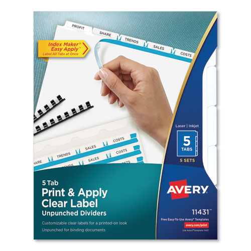 PRINT AND APPLY INDEX MAKER CLEAR LABEL UNPUNCHED DIVIDERS, 5TAB, LETTER, 5 SETS
