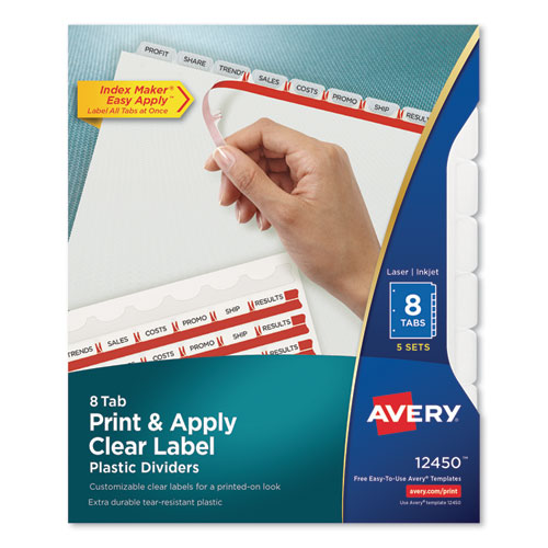 PRINT AND APPLY INDEX MAKER CLEAR LABEL PLASTIC DIVIDERS WITH PRINTABLE LABEL STRIP, 8-TAB, 11 X 8.5, TRANSLUCENT, 5 SETS