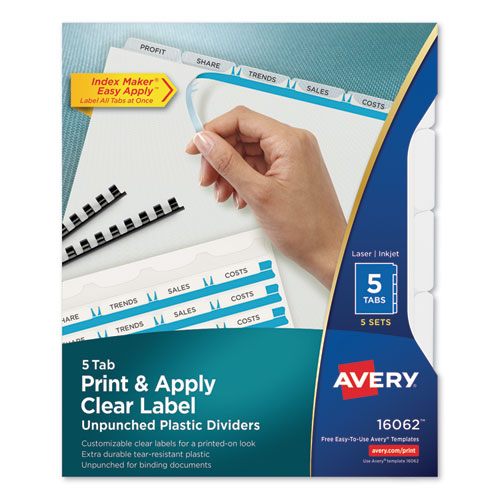 PRINT AND APPLY INDEX MAKER CLEAR LABEL UNPUNCHED DIVIDERS WITH PRINTABLE LABEL STRIP, 5-TAB, 11 X 8.5, CLEAR, 5 SETS