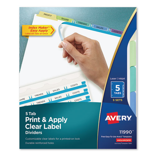 PRINT AND APPLY INDEX MAKER CLEAR LABEL DIVIDERS, 5 COLOR TABS, LETTER, 5 SETS