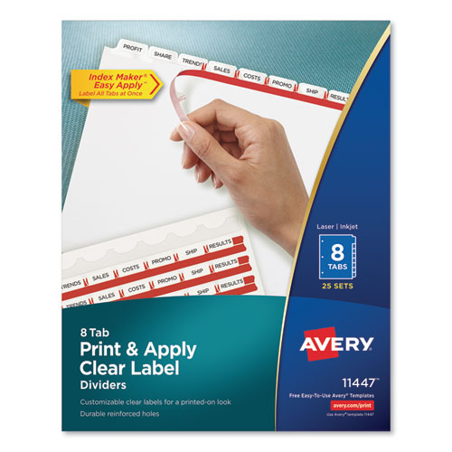 PRINT AND APPLY INDEX MAKER CLEAR LABEL DIVIDERS, 8 WHITE TABS, LETTER, 25 SETS