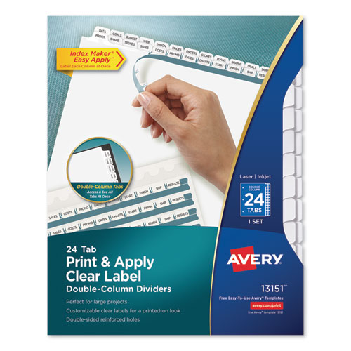 Index Maker Print & Apply Clear Label Double Column Dividers, 24-Tab, Letter