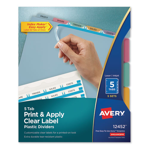 PRINT AND APPLY INDEX MAKER CLEAR LABEL PLASTIC DIVIDERS WITH PRINTABLE LABEL STRIP, 5-TAB, 11 X 8.5, TRANSLUCENT, 5 SETS