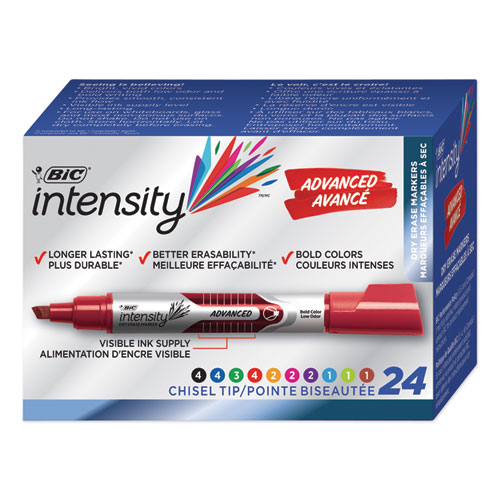 INTENSITY TANK-STYLE ADVANCED DRY ERASE MARKER, BROAD BULLET TIP, ASSORTED, 24/PACK