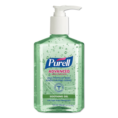ADVANCED HAND SANITIZER SOOTHING GEL, FRESH SCENT WITH ALOE AND VITAMIN E, 8 OZ, 12/CARTON