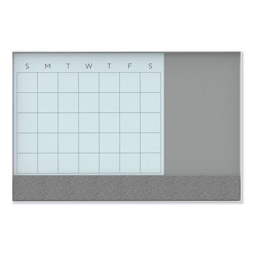 Image for 3N1 MAGNETIC GLASS DRY ERASE COMBO BOARD, 36 X 24, MONTH VIEW, WHITE SURFACE AND FRAME