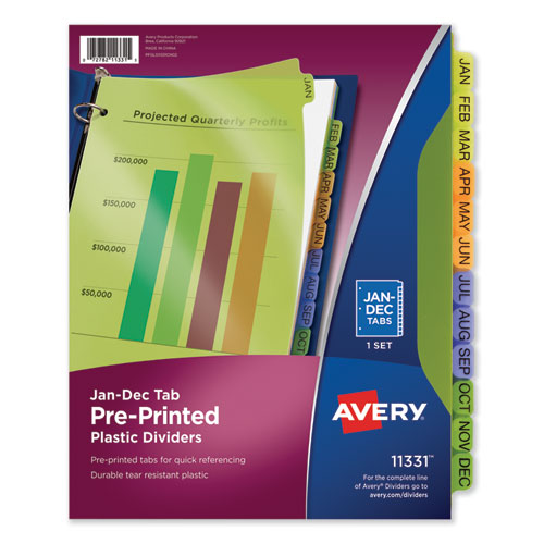 DURABLE PREPRINTED PLASTIC TAB DIVIDERS, 12-TAB, JAN. TO DEC., 11 X 8.5, ASSORTED, 1 SET