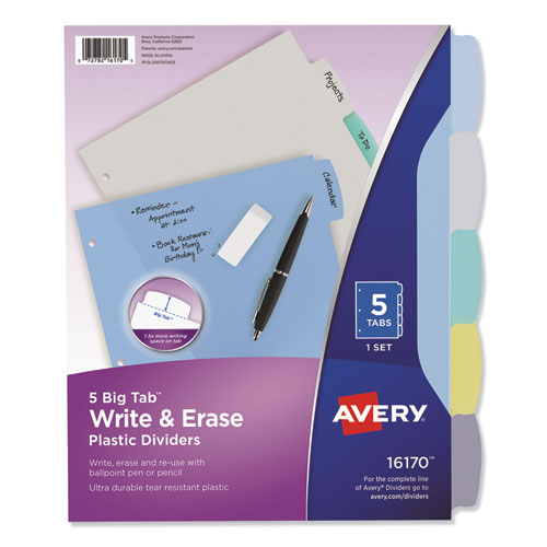 WRITE AND ERASE BIG TAB DURABLE PLASTIC DIVIDERS, 3-HOLD PUNCHED, 5-TAB, 11 X 8.5, ASSORTED, 1 SET