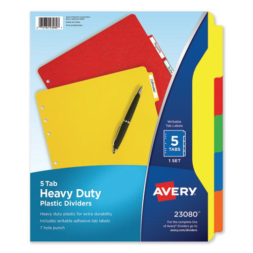 HEAVY-DUTY PLASTIC DIVIDERS WITH MULTICOLOR TABS AND WHITE LABELS , 5-TAB, 11 X 8.5, ASSORTED, 1 SET