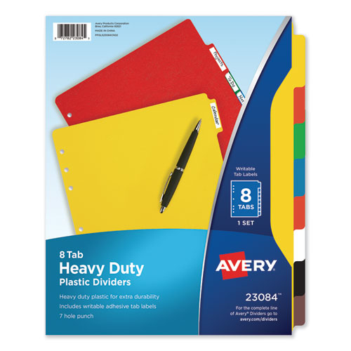 HEAVY-DUTY PLASTIC DIVIDERS WITH MULTICOLOR TABS AND WHITE LABELS , 8-TAB, 11 X 8.5, ASSORTED, 1 SET
