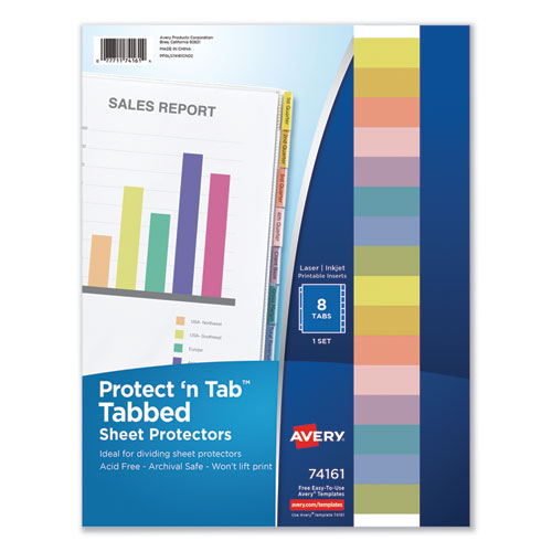 Protect 'n Tab Top-Load Clear Sheet Protectors W/eight Tabs, Letter