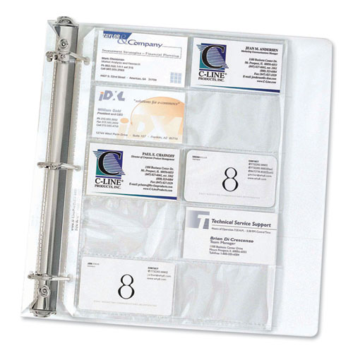 Image for Business Card Binder Pages, Holds 20 Cards, 8 1/8 X 11 1/4, Clear, 10/pack