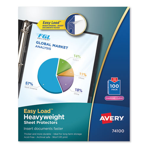 Top-Load Poly Sheet Protectors, Heavy Gauge, Letter, Diamond Clear, 100/box
