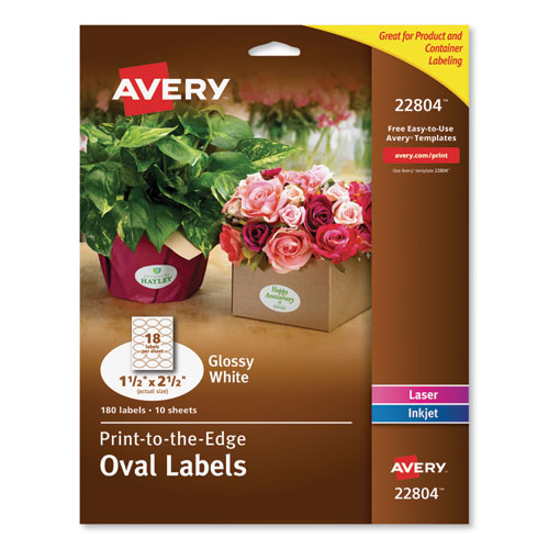 OVAL LABELS WITH SURE FEED AND EASY PEEL, 1 1/2 X 2 1/2, GLOSSY WHITE, 180/PACK