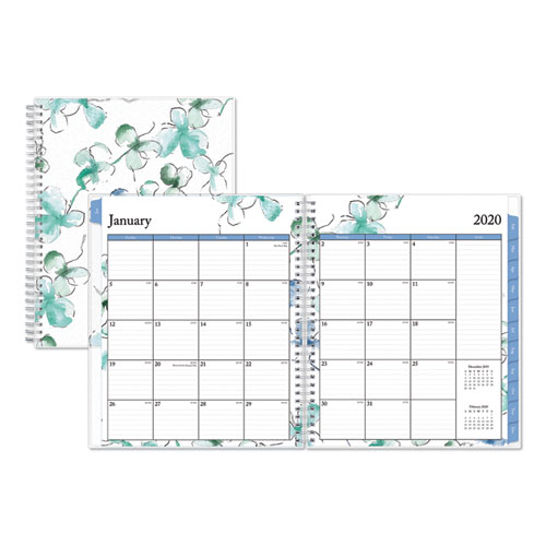 LINDLEY MONTHLY WIREBOUND PLANNER, 10 X 8, WHITE/BLUE, 2021