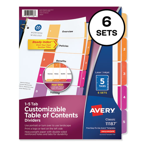 CUSTOMIZABLE TOC READY INDEX MULTICOLOR DIVIDERS, 5-TAB, LETTER, 6 SETS