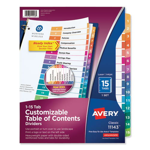 CUSTOMIZABLE TOC READY INDEX MULTICOLOR DIVIDERS, 15-TAB, LETTER