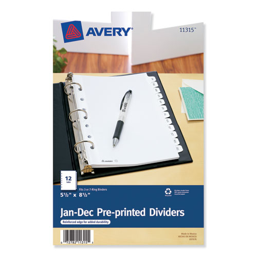 PREPRINTED TAB DIVIDERS, 12-TAB, 8.5 X 5 1/2