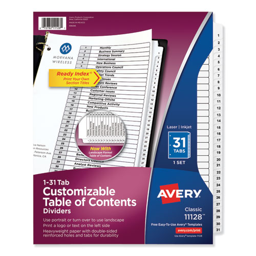 CUSTOMIZABLE TOC READY INDEX BLACK AND WHITE DIVIDERS, 31-TAB, LETTER