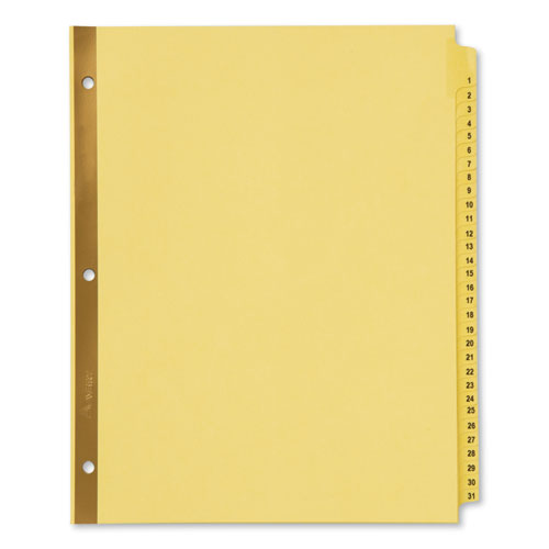 Preprinted Laminated Tab Dividers W/gold Reinforced Binding Edge, 31-Tab, Letter