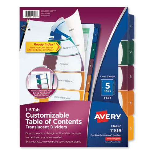 CUSTOMIZABLE TABLE OF CONTENTS READY INDEX DIVIDERS WITH MULTICOLOR TABS, 5-TAB, 1 TO 5, 11 X 8.5, TRANSLUCENT, 1 SET