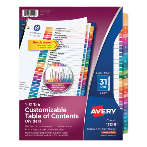 CUSTOMIZABLE TOC READY INDEX MULTICOLOR DIVIDERS, 31-TAB, LETTER