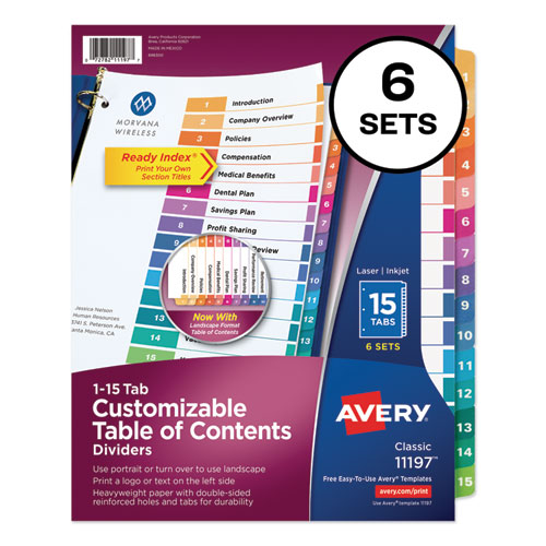 CUSTOMIZABLE TOC READY INDEX MULTICOLOR DIVIDERS, 15-TAB, LETTER, 6 SETS
