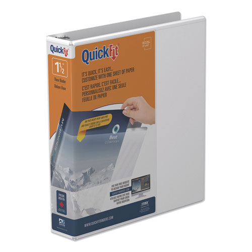 QUICKFIT ROUND-RING VIEW BINDER, 3 RINGS, 1.5