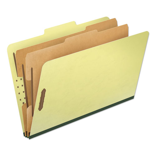 FOUR-, SIX-, AND EIGHT-SECTION PRESSBOARD CLASSIFICATION FOLDERS, 2 DIVIDERS, EMBEDDED FASTENERS, LEGAL, APPLE GREEN, 10/BOX