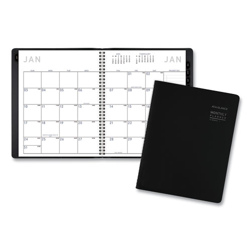 CONTEMPORARY MONTHLY PLANNER, 8.75 X 7, BLACK COVER, 2021