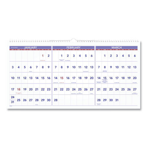 HORIZONTAL-FORMAT THREE-MONTH REFERENCE WALL CALENDAR, 23 1/2 X 12, 2020