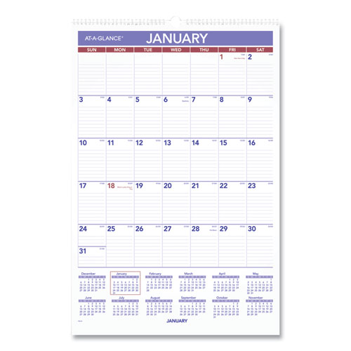 MONTHLY WALL CALENDAR WITH RULED DAILY BLOCKS, 15.5 X 22.75, WHITE, 2021