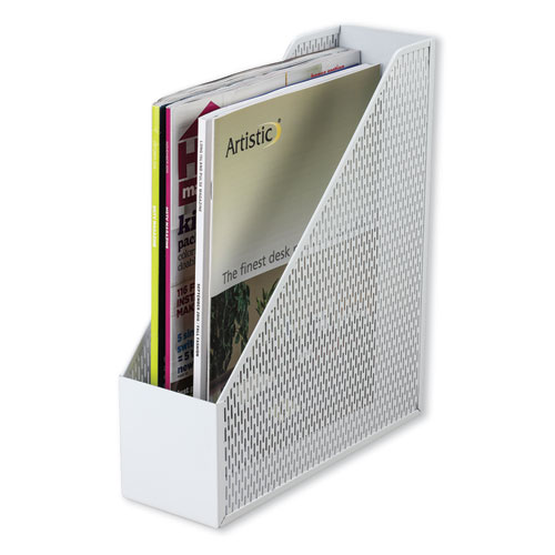 Image for Urban Collection Punched Metal Magazine File, 3 1/2 X 10 X 11 1/2, White