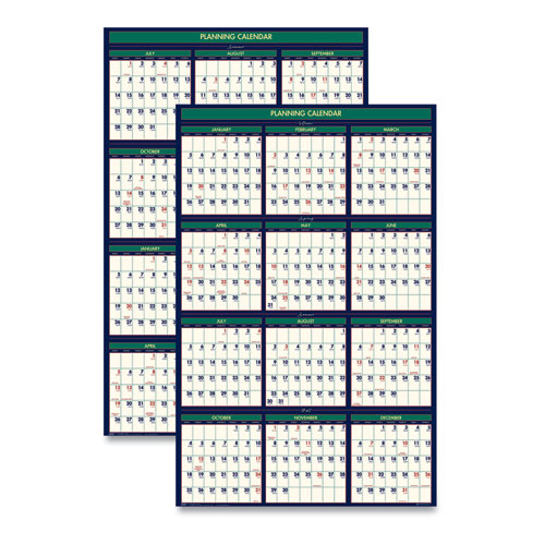 RECYCLED FOUR SEASONS REVERSIBLE BUSINESS/ACADEMIC WALL CALENDAR, 24 X 37, 2020-2021
