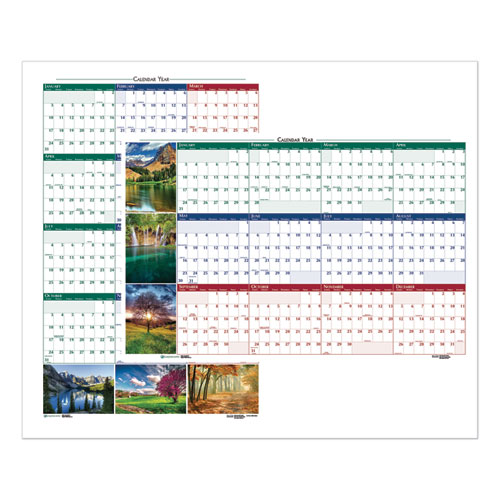 RECYCLED EARTHSCAPES NATURE SCENE REVERSIBLE YEARLY WALL CALENDAR, 24 X 37, 2021
