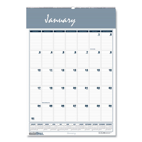 RECYCLED BAR HARBOR WIREBOUND MONTHLY WALL CALENDAR, 12 X 17, 2021