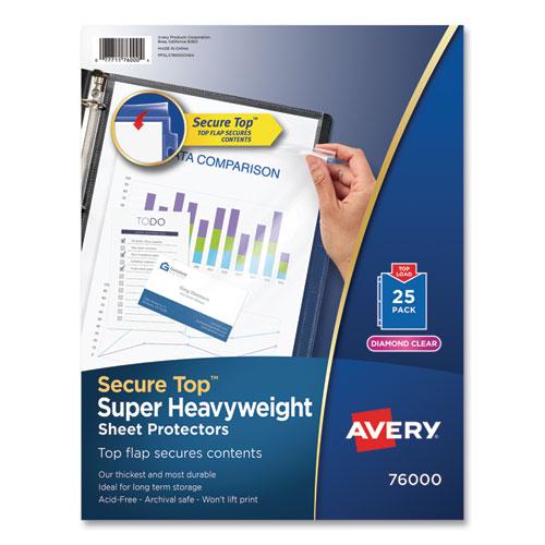 Secure Top Sheet Protectors, Super Heavy Gauge, Letter, Diamond Clear, 25/pack