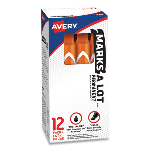 MARKS A LOT LARGE DESK-STYLE PERMANENT MARKER, BROAD CHISEL TIP, ORANGE, DOZEN