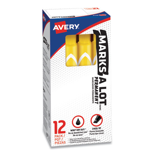 MARKS A LOT LARGE DESK-STYLE PERMANENT MARKER, BROAD CHISEL TIP, YELLOW, DOZEN